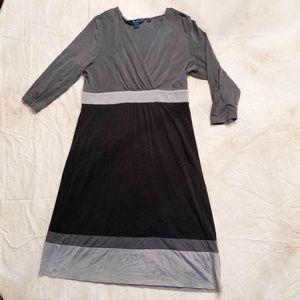 Boden - Faux Wrap Dress - Grey/Black